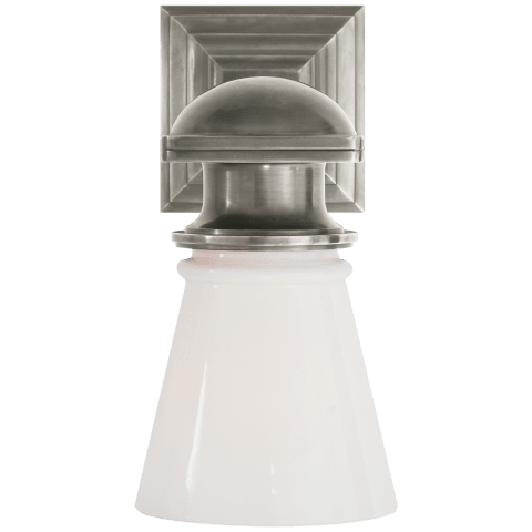 New York Subway Single Light in Antique Nickel with White Glass