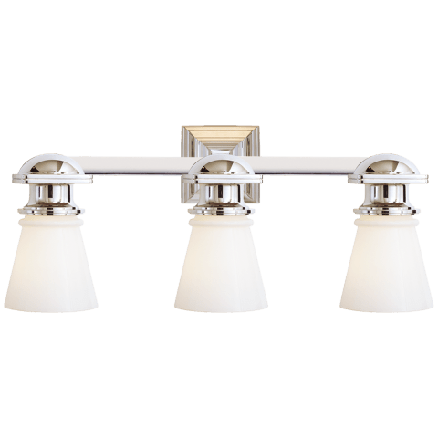 New York Subway Triple Light in Chrome with White Glass