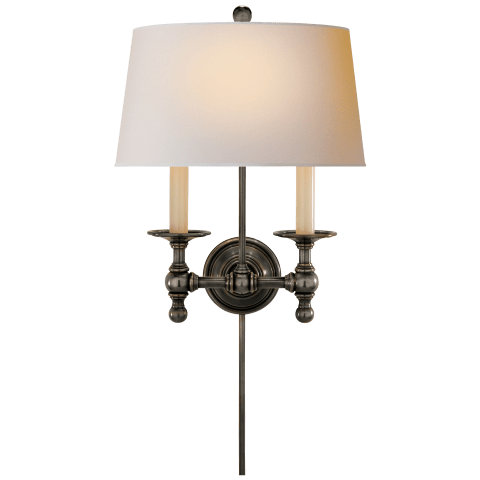 Classic Two-Light Sconce in Hand-Rubbed Antique Brass with Natural Paper Shade