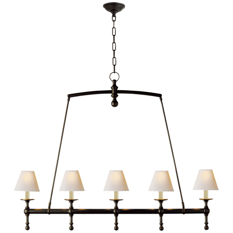 Classic Linear Chandelier in Bronze with Natural Paper Shades