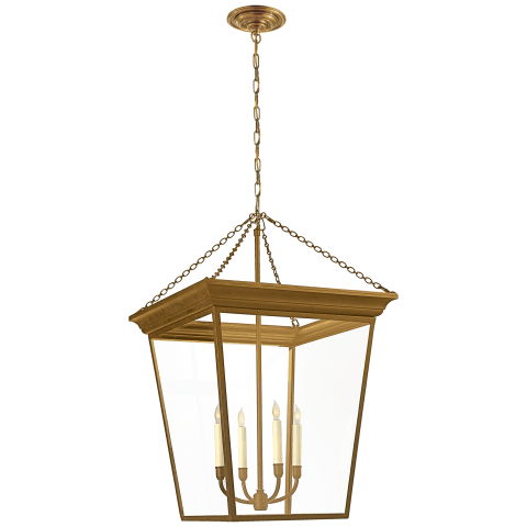 Cornice Large Lantern in Hand-Rubbed Antique Brass
