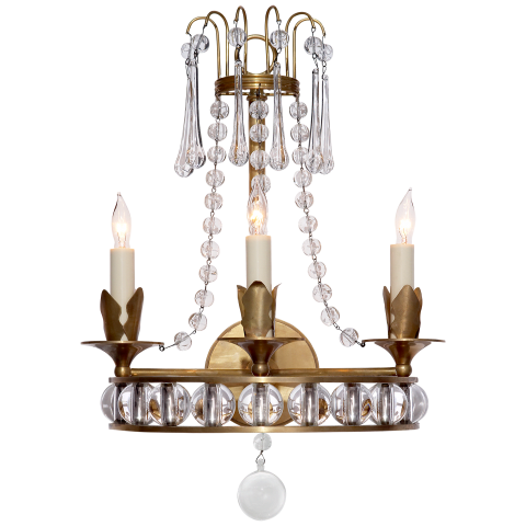Regency Triple Sconce in Hand-Rubbed Antique Brass with Seeded Glass