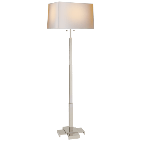 Empire Floor Lamp in Polished Nickel with Natural Paper Shade