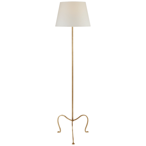 Albert Petite Tri-Leg Floor Lamp in Gilded Iron with Natural Percale Shade