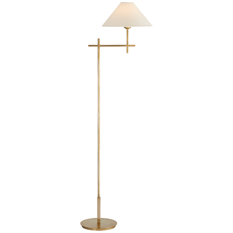 Hackney Bridge Arm Floor Lamp in Hand-Rubbed Antique Brass with Natural Paper Shade