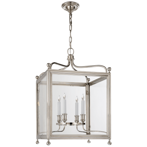 Greggory Medium Lantern in Polished Nickel