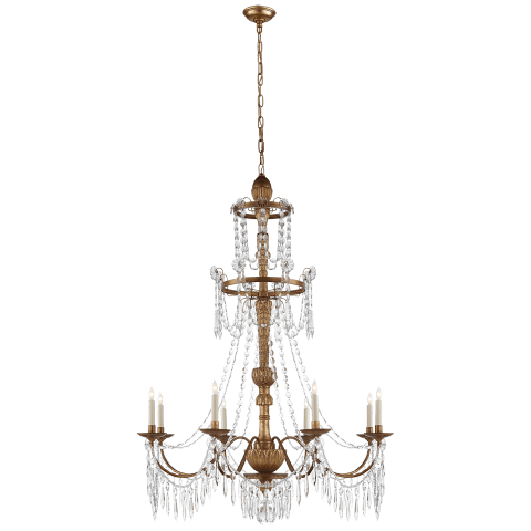Princess Mari Ann Crystal Chandelier in Antique Gilded Wood with Crystal