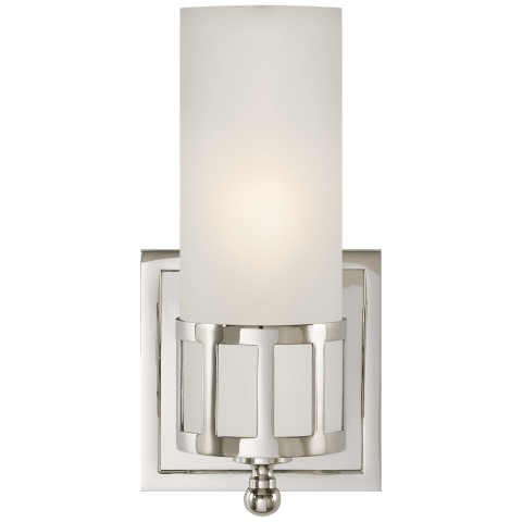 Openwork Single Sconce in Polished Nickel with Frosted Glass
