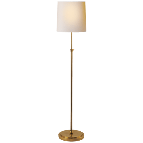 Bryant Floor Lamp in Hand-Rubbed Antique Brass with Natural Paper Shade