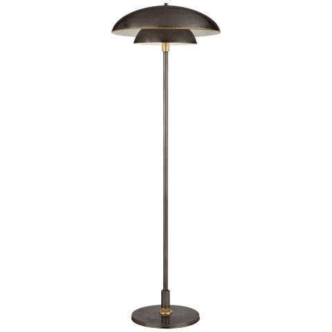 Whitman Floor Lamp in Bronze and Hand-Rubbed Antique Brass with Brass Trimmed Bronze Shade