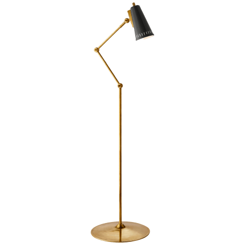 Antonio Articulating Floor Lamp in Hand-Rubbed Antique Brass with Black Shade