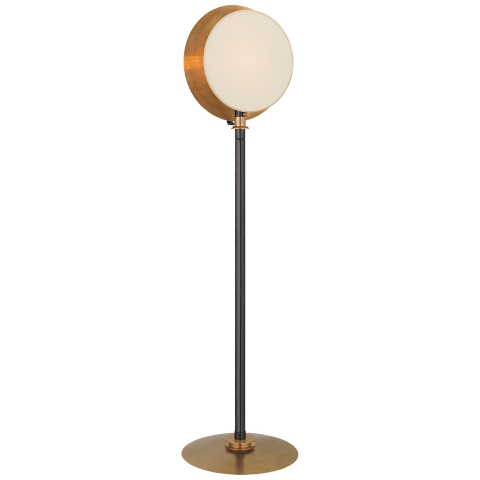 Osiris Large Reflector Floor Light in Bronze and Hand-Rubbed Antique Brass with Linen Diffuser