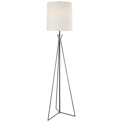 Tavares Large Floor Lamp in Aged Iron and Hand-Rubbed Antique Brass with Linen Shade