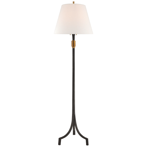 Arturo Forged Floor Lamp in Aged Iron and Brass with Linen Shade
