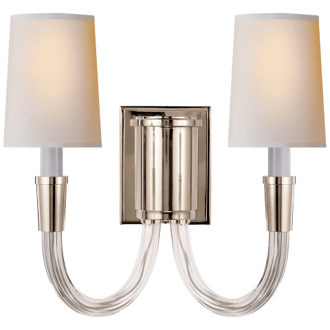Vivian Double Sconce in Polished Nickel with Natural Paper Shades