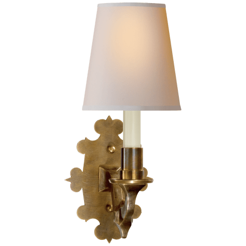 Leyland Sconce in Hand-Rubbed Antique Brass with Natural Paper Shade