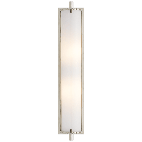 Calliope Tall Bath Light in Polished Nickel with White Glass