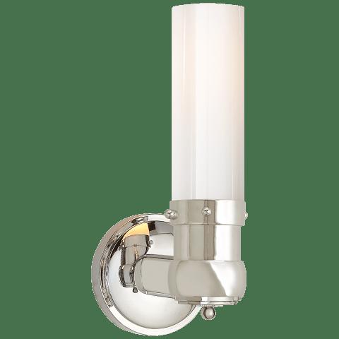 Graydon Single Bath Light in Polished Nickel with White Glass