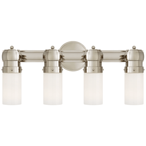 Graydon Medium Over The Mirror Bath Light in Polished Nickel with White Glass