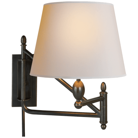 Paulo Small Bracket Light in Bronze with Natural Paper Shade