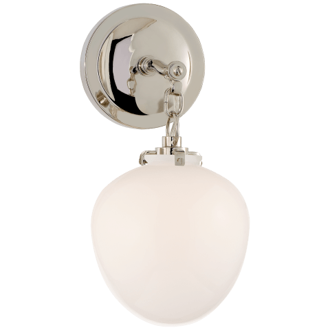 Katie Small Acorn Sconce in Polished Nickel with White Glass