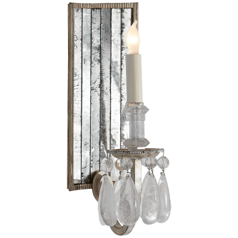 Elizabeth Wall Sconce in Burnished Silver Leaf with Quartz and Antique Mirror