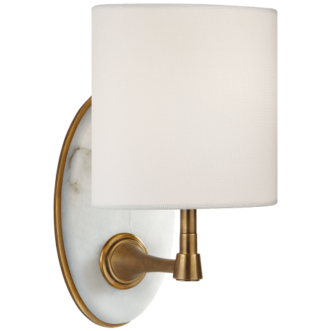 Casper Small Sconce in Hand-Rubbed Antique Brass and Alabaster with Linen Shade