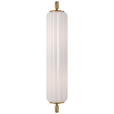 Eden Long Sconce in Hand-Rubbed Antique Brass with White Glass