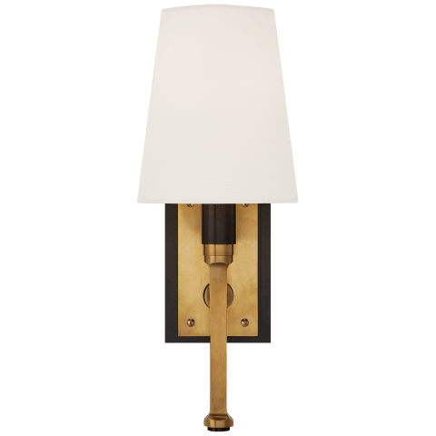Watson Small Tail Sconce in Bronze and Hand-Rubbed Antique Brass with Linen Shade