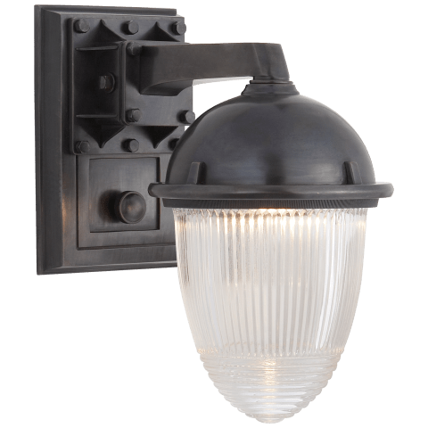 Garey Wall Light in Bronze with Industrial Prismatic Glass