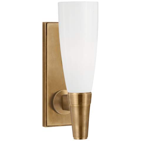 Vinton Small Single Sconce in Hand-Rubbed Antique Brass with White Glass