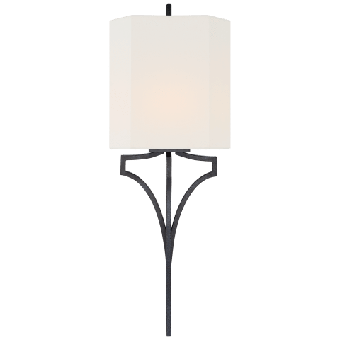 Pietro Large Sconce in Aged Iron with Linen Shade