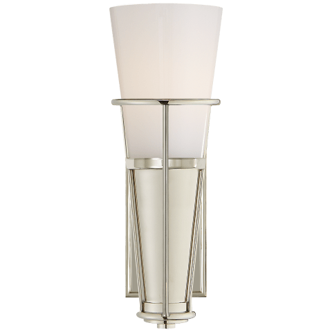 Robinson Single Sconce in Polished Nickel with White Glass
