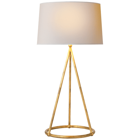 Nina Tapered Table Lamp in Gilded Iron with Natural Paper Shade