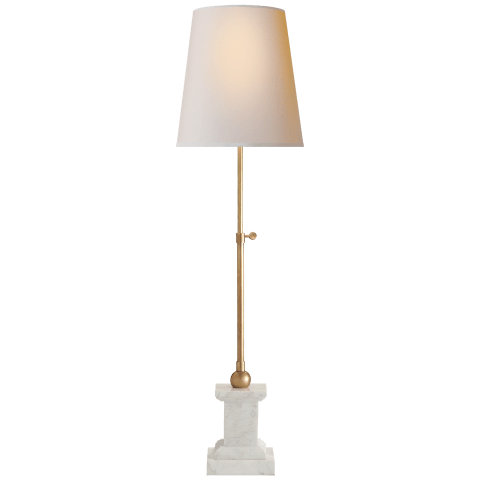 Brett Table Lamp in White Marble and Hand-Rubbed Antique Brass with Natural Paper Shade