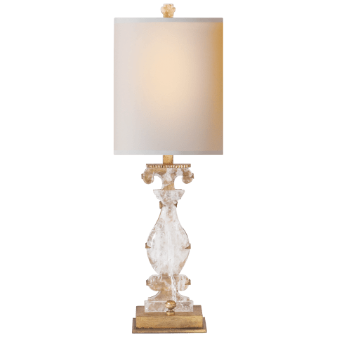 Silhouette Vase Accent Lamp in Gilded Iron and Quartz with Natural Paper Shade