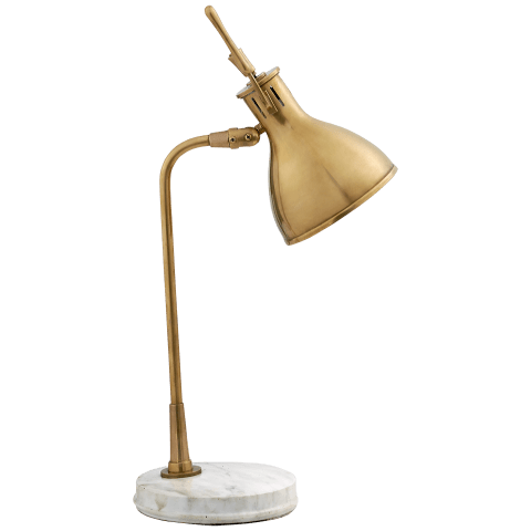 Enrico Table Lamp in Hand-Rubbed Antique Brass with White Marble Base