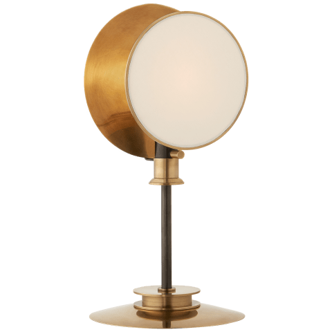 Osiris Reflector Table Light in Bronze and Hand-Rubbed Antique Brass with Linen Diffuser