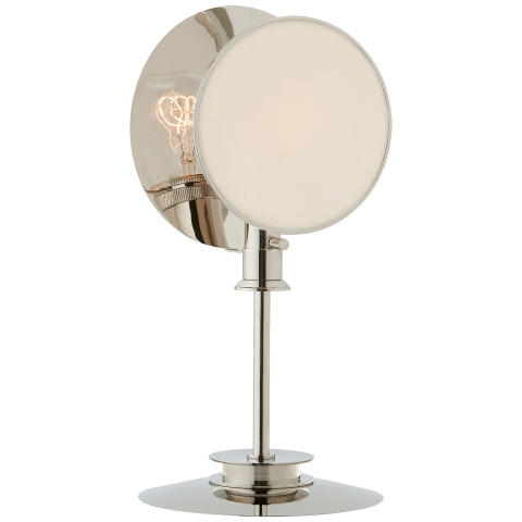 Osiris Reflector Table Light in Polished Nickel with Linen Diffuser