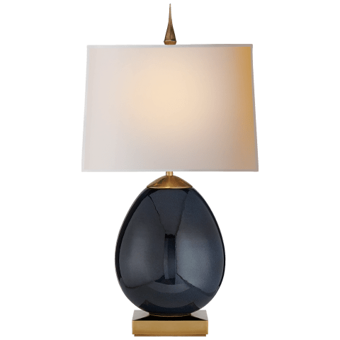 Ciro Small Table Lamp in Mixed Blue Brown with Natural Paper Shade