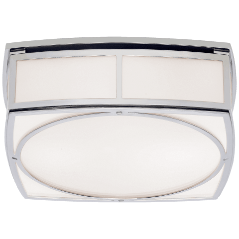 Winston Large Flush Mount in Polished Nickel with White Glass