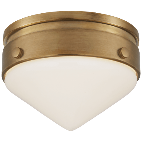 """Gale 5.5"""" Solitaire Flush Mount in Hand-Rubbed Antique Brass with White Glass"""