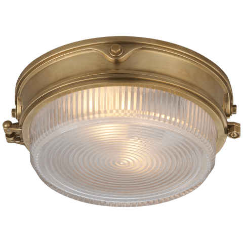Garey Flush Mount in Hand-Rubbed Antique Brass with Industrial Prismatic Glass