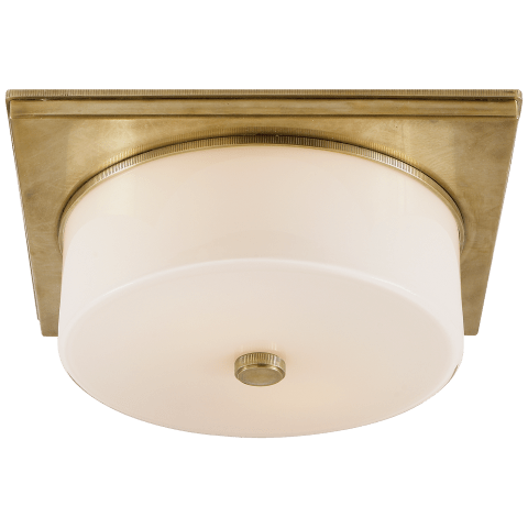 Newhouse Circular Flush Mount in Hand-Rubbed Antique Brass with White Glass