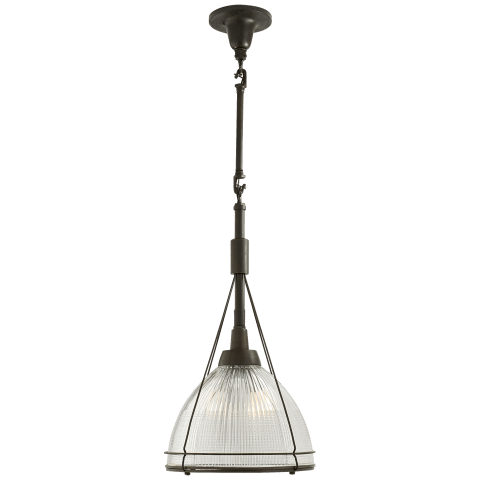 Harris Medium Framed Pendant in Aged Iron with Prismatic Clear Glass