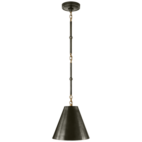 Goodman Petite Hanging Shade in Bronze and Hand-Rubbed Antique Brass with Bronze Shade