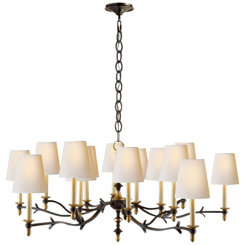 Chandler Large Chandelier in Blackened Rust with Hand-Rubbed Antique Brass and Natural Paper Shades
