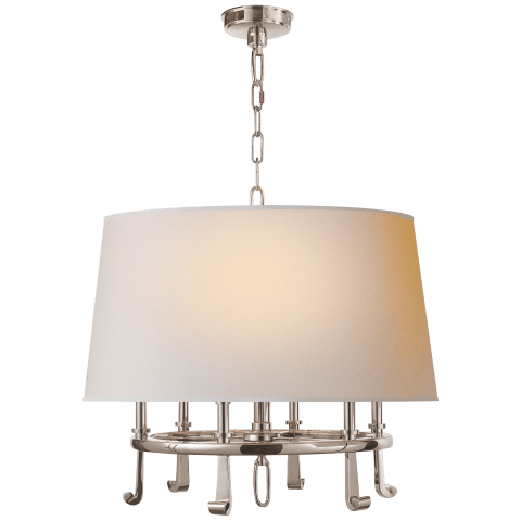 Calliope Hanging Shade in Polished Nickel with Natural Paper Shade