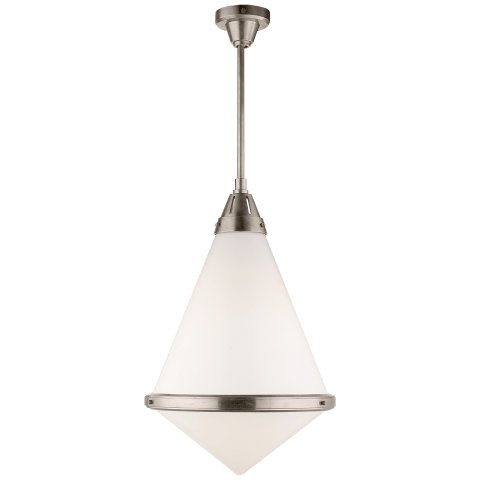 Gale XL Pendant in Antique Nickel with White Glass