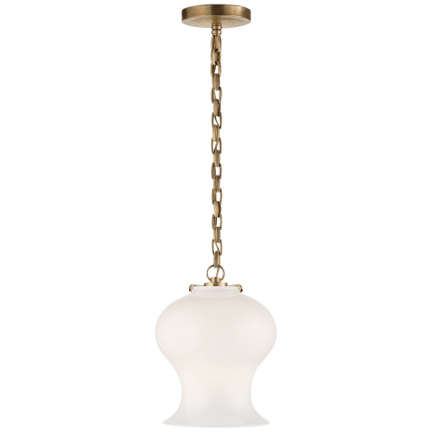 Katie Bell Jar Pendant in Hand-Rubbed Antique Brass with White Glass
